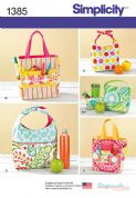 1385 Simplicity Pattern: Art Caddies, Lunch Bags and Snack Bag